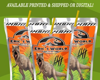 Jurassic World Capri Sun Labels - Juice Pouch Label - Jurassic Park - Jurassic World - Capri Sun - Digital - Party Printable
