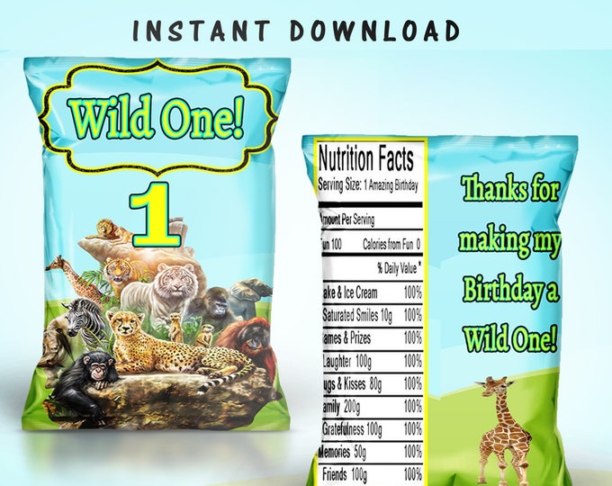 Wild One Chip Bag - INSTANT DIGITAL DOWNLOAD - File Cannot Be Customized - File Not Editable - First Birthday - Wild One Theme - Digital