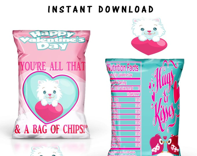 Valentines Chip Bag - INSTANT DIGITAL DOWNLOAD - File Not Editable - Valentine Chip Bag - Class Printable - Party Printable