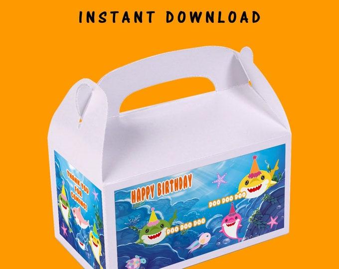 Shark Favor Box - INSTANT DIGITAL DOWNLOAD - File Cannot Be Customized - File Not Editable - Shark Gable Box - Digital File - Printed