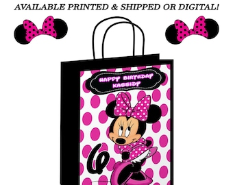 Minnie Mouse Gift Bag - White Pink Dots - Minnie Mouse Labels - Party Favor - Minnie Mouse Party - Digital - Party Printable - Printed