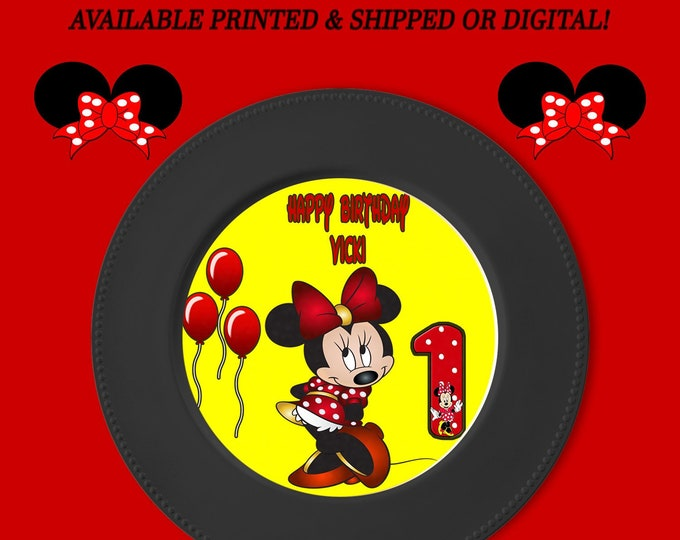 Minnie Mouse Charger Plate Insert - Yellow Red - Custom Charger Plate Insert - Minnie Mouse Party - Digital - Party Printable - Printed