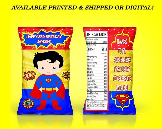 Superhero Chip Bag - Superhero Favors - Superhero Favor Bag - Superhero Party - Party Favor - Digital - Party Printable - Printed
