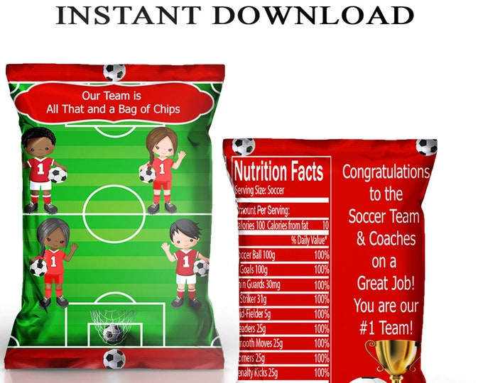 Soccer Chip Bag - INSTANT DIGITAL DOWNLOAD - File Cannot Be Customized - File Not Editable - Soccer Party Favors - Party Printable - Digital
