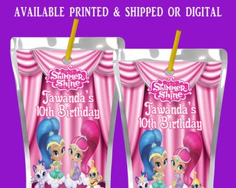 Shimmer and Shine Capri Sun Label - Shimmer and Shine Theme - Capri Sun Labels - Juice Pouch Label - Digital File - Party Printables