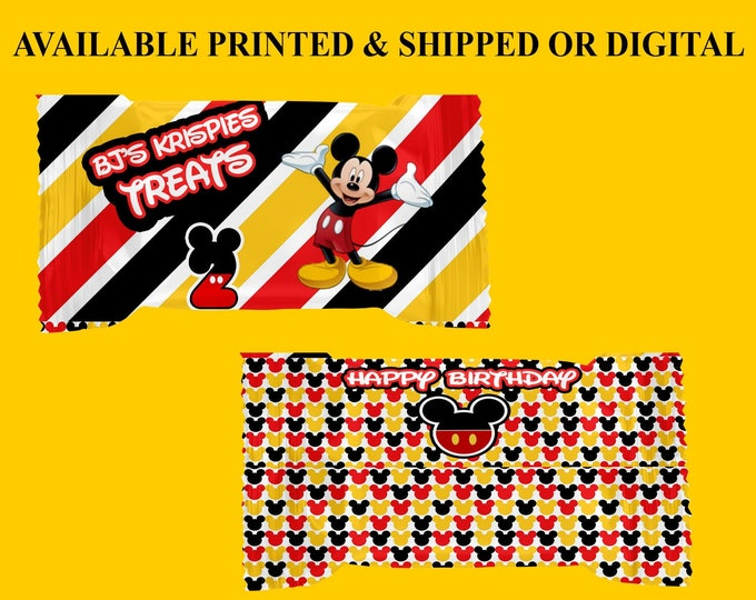 Mickey Mouse Rice Krispy Treat Wrappers - Mickey Mouse Party - Party Favors - Digital - Party Printables - Printed