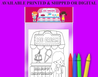 Ice Creme Coloring Pack - FREE Crayons - Custom Coloring Book - Ice Cream Party Theme - Digital - Party Printables - Printed
