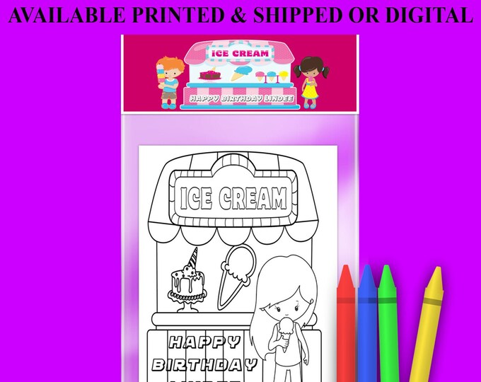 Ice Creme Coloring Book with FREE Crayons - Custom Coloring Book - Ice Cream Party Theme - Digital - Party Printables - Printed