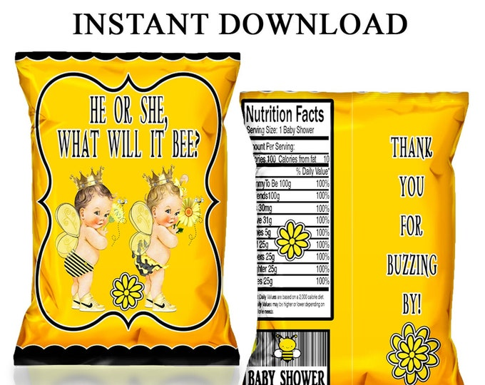 Bumble Bee Chip Bags - INSTANT DIGITAL DOWNLOAD - File Cannot Be Customized - Baby Shower Favor - Party Favor - Digital - Party Printable