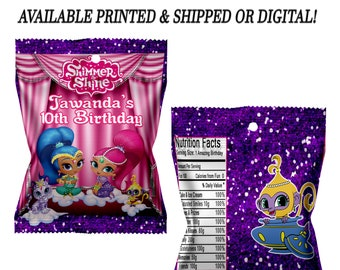 Shimmer and Shine Fruit Snack Favors - Fruit Snack Favors - Custom Favors - Digital - Party Favor - Shimmer and Shine Party Printable