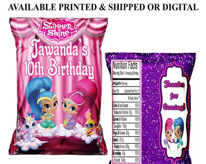 Shimmer and Shine Chip Bag - Custom Party Favors - Party Favors - Shimmer & Shine Birthday Party - Party Printables - Digital - Printed