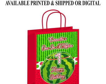 One in a Melon Gift Bag - One in a Melon Party Favors - Watermelon Theme - Digital - One in a Melon - First Birthday - Party Printable