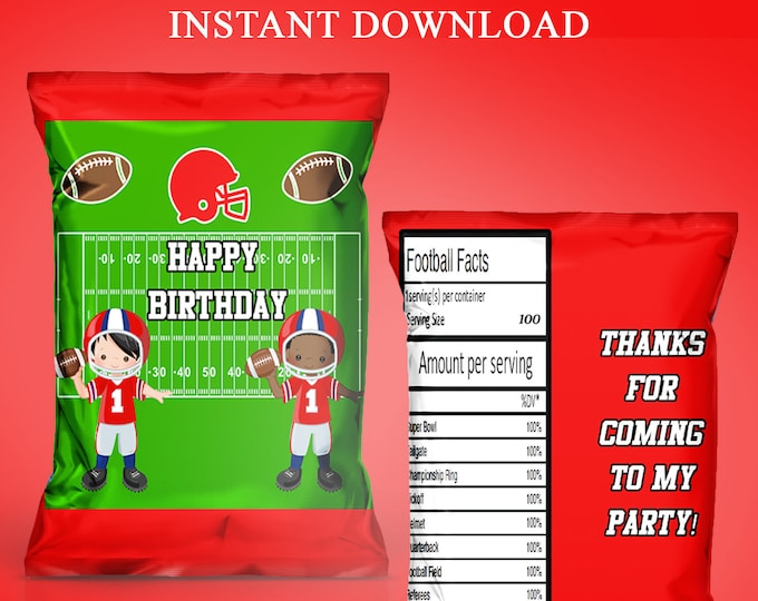 Football Chip Bag - INSTANT DIGITAL DOWNLOAD - File Cannot Be Customized - File Not Editable - Football Party Favors - Party Printable
