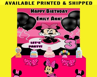 Minnie Mouse Backdrop - Minnie Mouse Banner - Minnie Mouse Birthday Party - Minnie Mouse Party Favor - Backdrop - DIGITAL - PRINTED