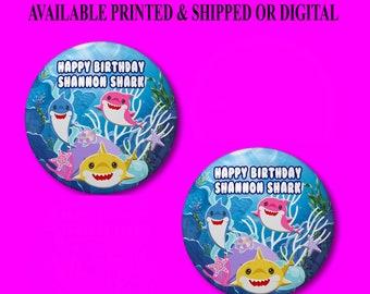 Shark Pushback Button Pins - Shark Party Favors - Shark Birthday Pins - Button Pins - Pushback Button Pins - Baby Shark Party Favors