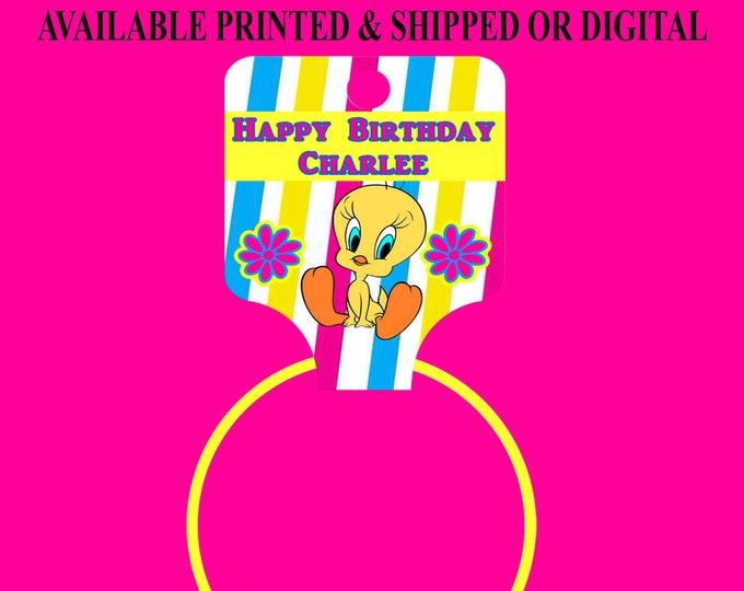 Tweety Bird Hang Tags - Bracelet Hang Tags - Custom Fold Over Tags - Hang Tags - Tweety Bird Party - Digital File - Party Printables