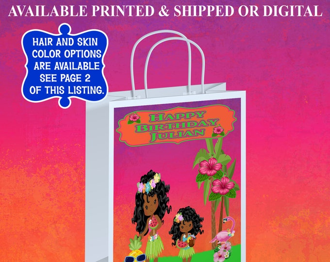 Hawaiian Gift Bag Label - Hawaiian Party - Tropical Gift Bag Label - Gift Bag Labels - Digital File - Printed - Party Printable