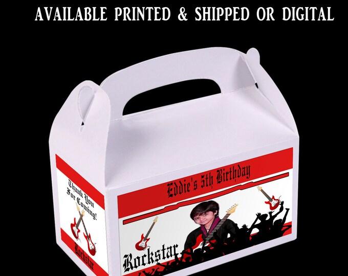 Rockstar Favor Box - Rock Star Party - Custom Party Favor -Rockstar Gable Box - Favor Box Labels - Digital - Printed - Party Printable