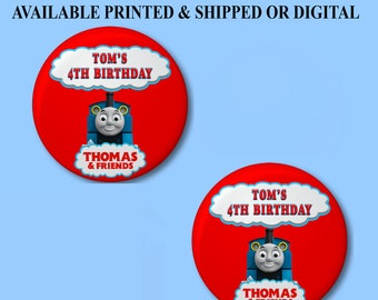 Thomas the Train Buttons - Pushback Button Pins - Thomas the Train Party Favors - Button Pins - Pushback Button Pins - Party Favors