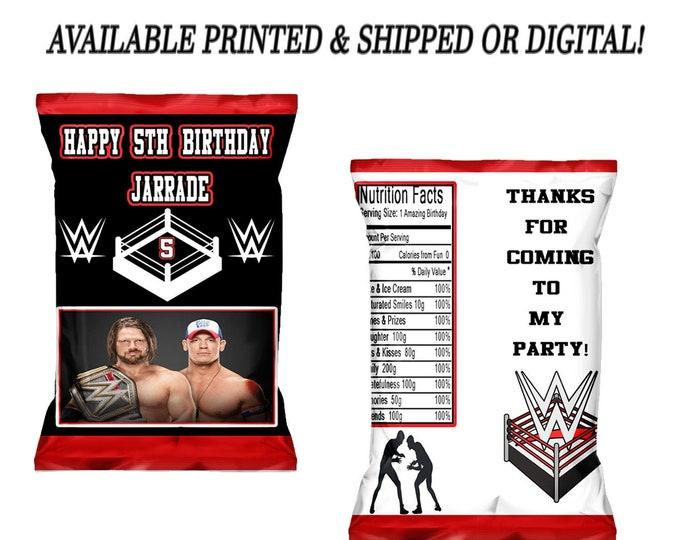 Wrestling Chip Bag - Wrestling Favor Bag - Wrestling Birthday Party - Party Printables - Digital - Printed - Party Printable