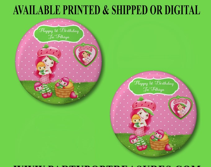 Strawberry Shortcake Pushback Button Pins - Strawberry Shortcake Party Favors - Button Pins - Pushback Button Pins - Party Favors