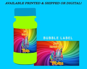 Trolls Bubble Labels - Party Favor - Trolls Party Favors - Bubble Stickers - Digital - Printed - Party Printables - Trolls Party Printables