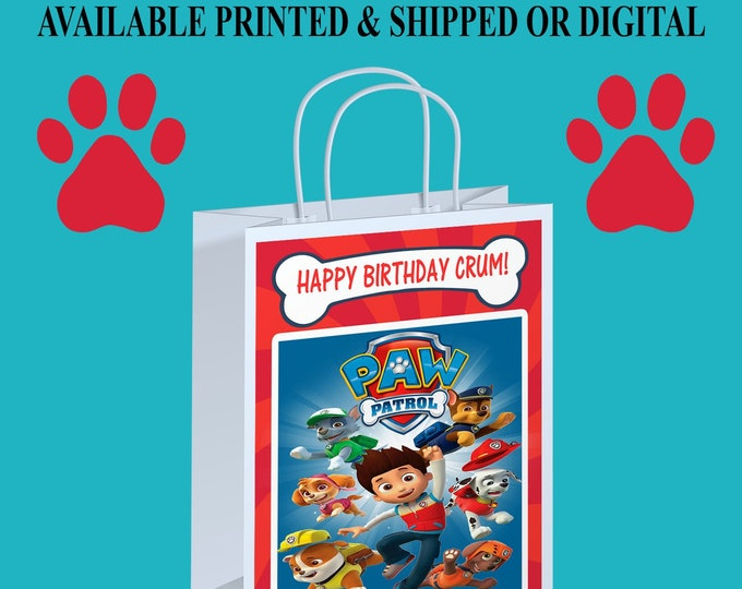 Paw Patrol Gift Bag Labels - Paw Patrol Party Favor - Paw Patrol Favor Bag - Gift Bag - Digital - Party Printables - Printed