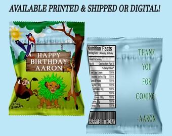 Lion King Fruit Snack Favors - Fruit Snack Favor Bags - Lion King Party Favors - Favor Bags - Digital - Printed - Party Printable