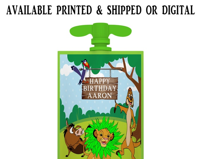 Lion King Applesauce Pouch Label - Applesauce Pouch Label - Lion King Labels - Lion King Party Favors - Digital - Party Printable - Printed