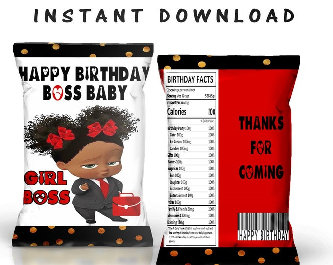 Boss Baby Chip Bag - INSTANT DIGITAL DOWNLOAD - File Cannot Be Customized - Boss Baby - Party Printables - Digital File - Instant Download