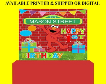 Sesame Street Backdrop - Sesame Street Banner - Sesame Street Party Favor - Birthday Party - Elmo Party - Digital File - Printed