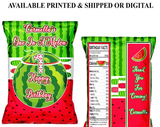 One in a Melon Chip Bag - Watermelon Theme - Watermelon Theme - One in a Melon Favor Bag -  Digital - Party Printable - Printed