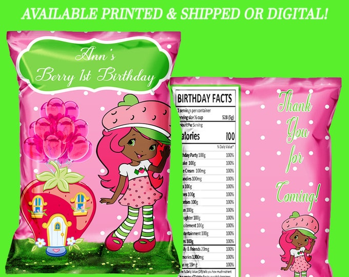 Strawberry Shortcake African American Chip Bag - Favor Bag - Party Favors - Chip Bags - Favor Boxes - Digital - Party Printable