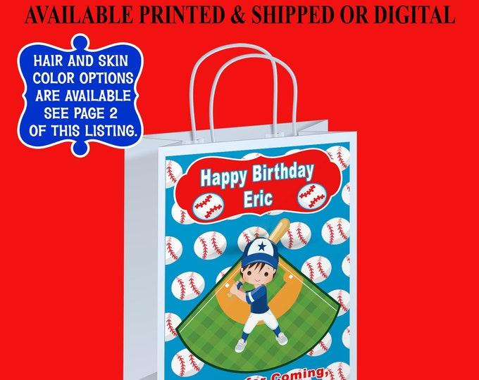 Baseball Gift Bag Label - Baseball Party Favor - Custom Gift Bag Label - Party Printables - Digital - Printed - Party Printables