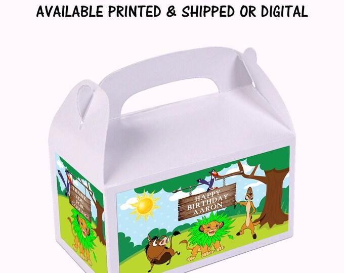 Lion King Favor Box - Shark - Custom Favor Box - Gable Box - Kids Party - Lion King Party Favor - Printed - Party Printable - Digital