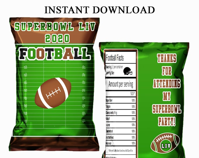 Superbowl Party Chip Bag - INSTANT DIGITAL DOWNLOAD - File Not Customizable - Superbowl Party Favor - Party Printable