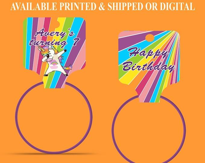 Unicorn Hang Tag - Bracelet Hang Tags - Custom Fold Over Tags - Hang Tags - Unicorn Party - Dabbing Unicorn - Digital File - Party Printable