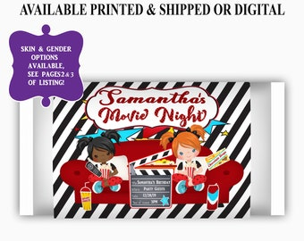 Movie Night Microwave Popcorn Labels - Sleepover Birthday Party - Slumber Party Favor - Party Printable - Movie Night Party Favors - Digital