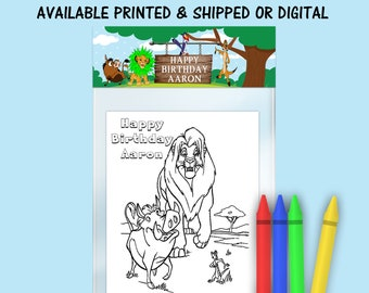 Lion King Coloring Pack - FREE CRAYONS - Lion King Party Favor - Lion King Coloring Book - Digital - Party Printables - Printed