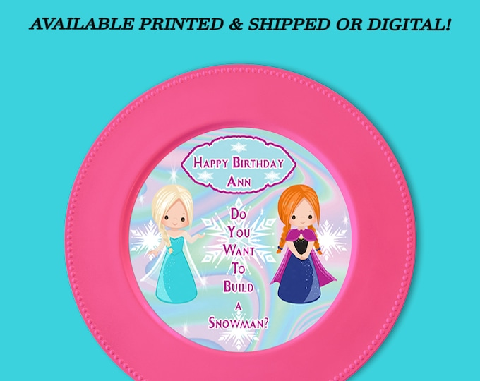 Frozen Charger Plate Insert - Custom Charger Plate Insert - Frozen Party Favors - Digital - Frozen Party Printable - Digital - Printed