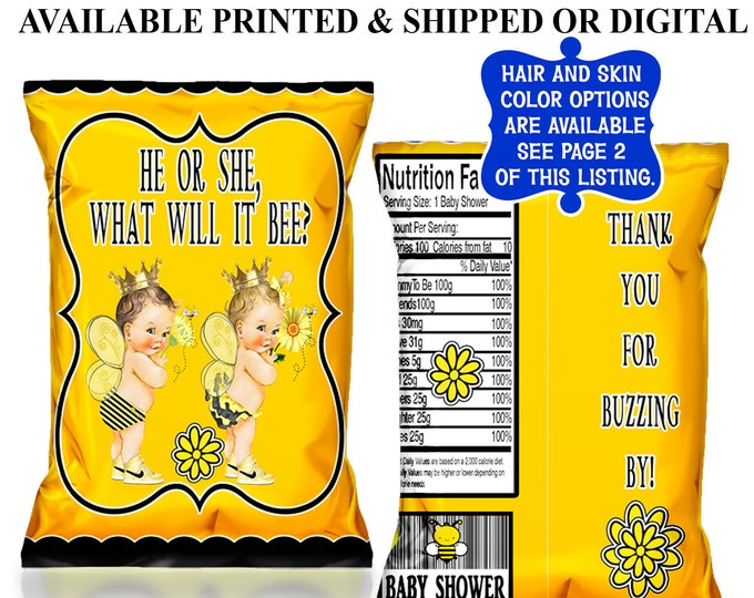 Bumble Bee Chip Bags - Chip Bags - Bumble Bee Favor Bags - Favor Bags - Party Favors - Gender Reveal - Digital - Printable - Printed