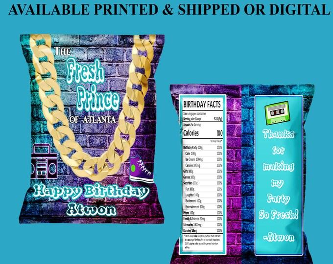 Fresh Prince Chip Bag - Custom Party Favor - Fresh Prince Party Printables - Favor Bags - Custom Chip Bag - Digital - Party Printables