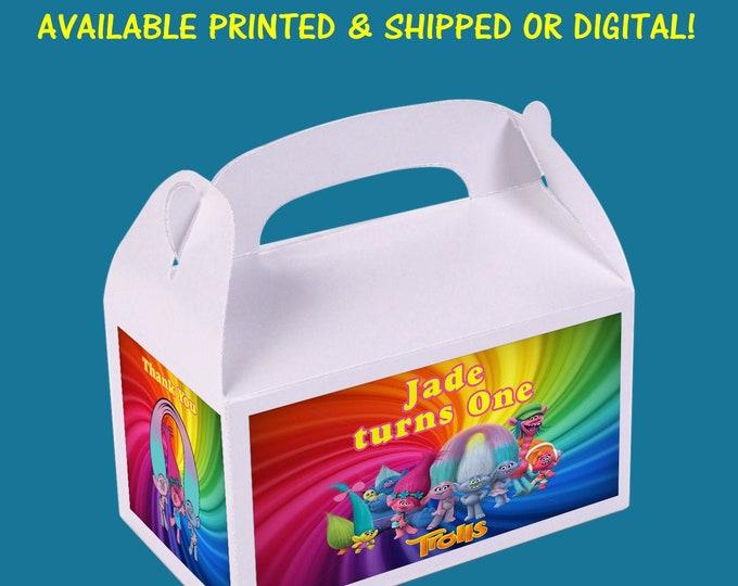 Trolls Favor Box - Trolls Favor Box Labels - Gable Box Labels - Favor Box - Custom Party Favor - Digital File - Party Printables - Printed