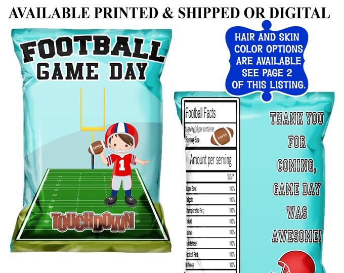 Football Chip Bag - Football Treat Bag - Football Favor Bag - Chip Bag - Football Party Favors - Digital - Printed - Party Printable