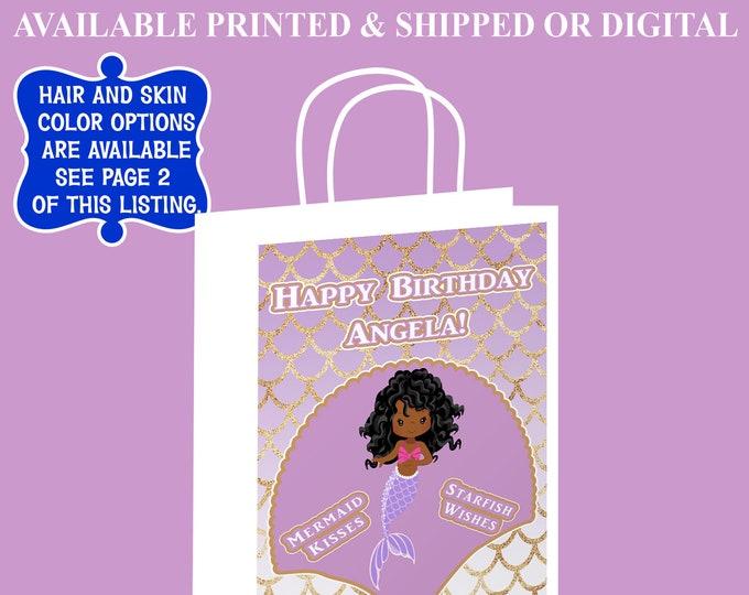 Mermaid Gift Bag Label - Mermaid Theme Party - Mermaid Party Favor - Gift Bag Label - Digital - Party Printable