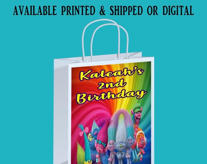 Trolls Gift Bag Label - Trolls Labels - Gift Bag - Gift Bag Labels - Digital - Printed - Party Printable