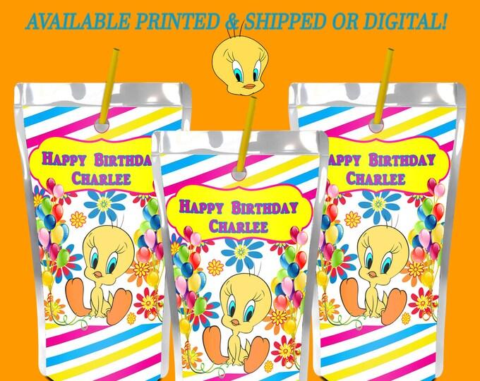 Tweety Bird Capri Sun Label - Tweety Bird Party - Juice Pouch Label - Digital - Printed - Party Printables