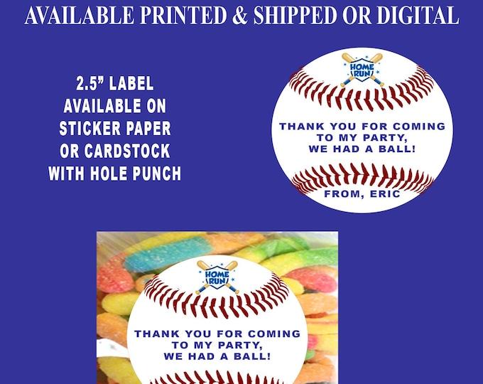 Baseball Favor Tags - Baseball Labels - Baseball Stickers - Baseball Party - Baseball Party Favors - Custom Labels - Printed - Digital