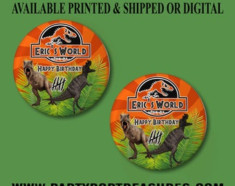 Jurassic World Pushback Button Pins - Jurassic World Party Favors - Jurassic World -  Pushback Button Pins - Button Pins - Party Favors