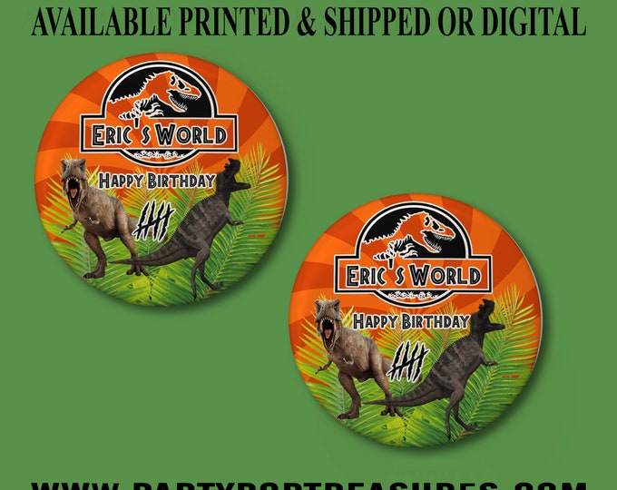Jurassic World Pushback Button Pins - Jurassic World Party Favors - Jurassic World -  Pushback Button Pins - Button Pins - Party Favors